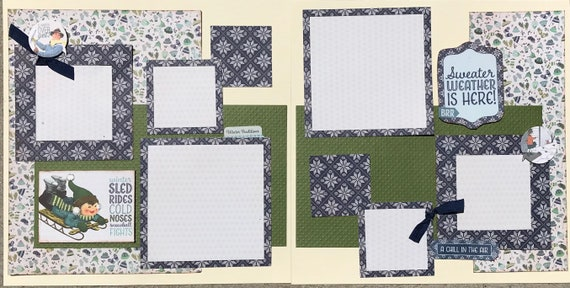 Winter Sled Rides, Cold Noses and Snowball Fights, 2 Page Scrapbooking Layout Kit or Premade Pages