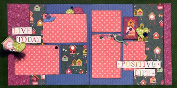 Live Today - Positive Life 2 Page Scrapbooking Layout Kit or Premade Scrapbooking Pages