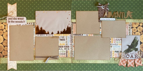 You Did What in the Woods?  Adventure  2 page Scrapbooking Layout Kit or Premade Scrapbooking Pages