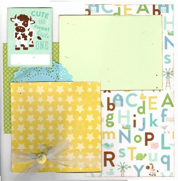 Cute and Sweet Little One, Baby Boy, 2 Page Scrapbooking Layout Kit