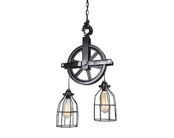 Industrial Pulley Light - Barn Pulley Light - Industrial Light - Pulley Light - Home Decor - Ceiling Decor - Industrial Decor- country light