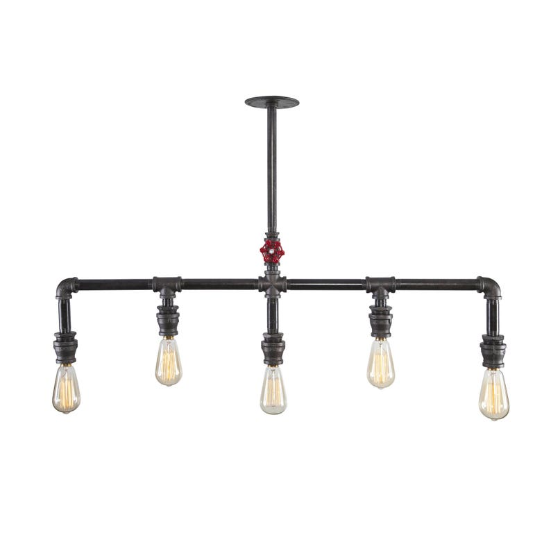 Farmhouse Pulley 3 Light Industrial Chandelier Kitchen Dining Room Lighting Iron