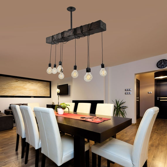 Rustic Wood Beam Light Modern Farmhouse Chandelier Rustic Dining Room Lighting Wrapped Beam With Pendant Lights Kitchen Island Light