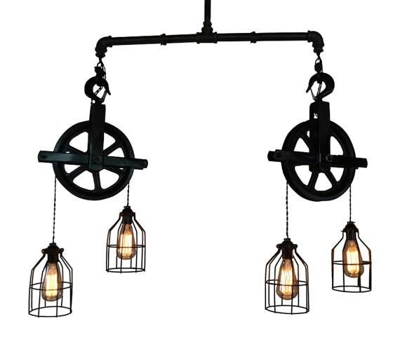Items Similar To Rustic Light Pendant Lighting Pulley On Etsy: Ceiling Lighting Industrial Pulley Light Bar Light