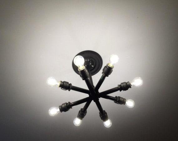 Sputnik Chandelier, Naturous 12 Lights Pendant Lighting, Painted Black Modern Sputnik Light, UL Listed