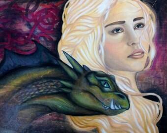 Original Oil Painting of Daenerys