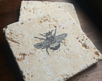 Bumblebee Coasters // Stamped Stone Tile