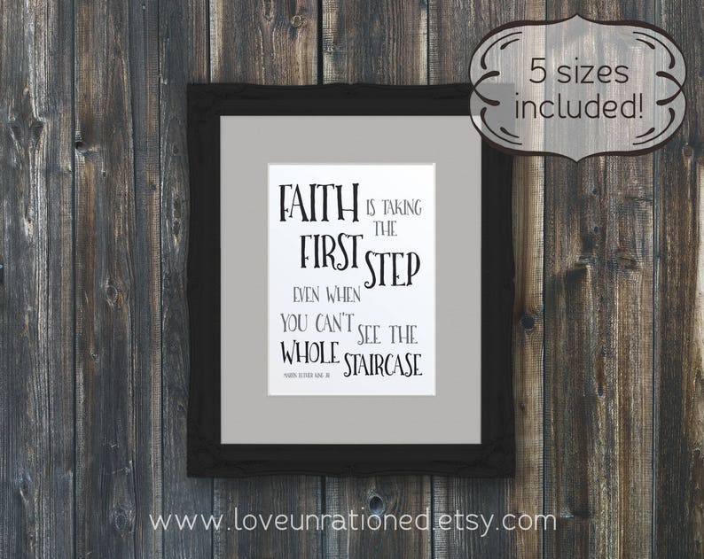 Taking First Step Staircase Quote Mlk Quote Mlk Quote Etsy
