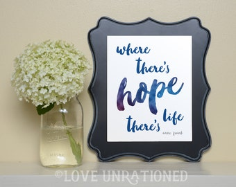 Printable Quote - Where There is Hope, Anne Frank quote, poster print, printable, inspirational, quote, Christian art, Christian print