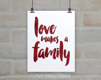 4 sizes included! Printable Quote - love makes a family, love quote, wall art, poster print, printable, inspirational, quote, adoption