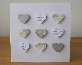 Handmade personalised Silver Wedding Anniversary card - 25th 25