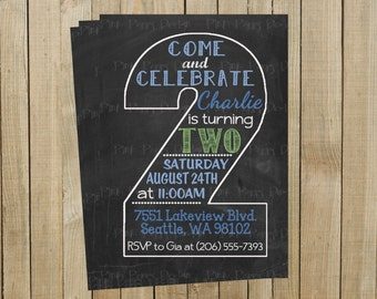 Vintage Chalkboard Two Second Birthday Invitation, Blue and Green, Printable, Custom Digital File