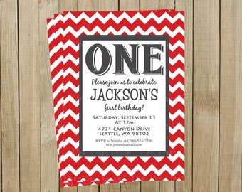 Red Chevron First Birthday Invitation, One, Custom Digital File, Printable