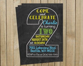 Vintage Chalkboard Two Second Birthday Invitation, Blue Yellow and Green, Printable, Custom Digital File