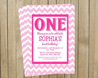Pink Chevron First Birthday Invitation, One, Custom Digital File, Printable