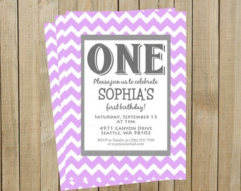 Lavender Chevron First Birthday Invitation, One, Custom Digital File, Printable
