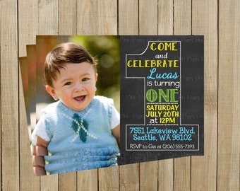 Vintage Chalkboard One First Birthday Invitation, Blue Yellow and Green, Printable, Custom Digital File
