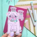 Pug sticker, Pug stationery, journal, bujo sticker, diary sticker, planner sticker, pug planner, pug,purple pug vinyl sticker