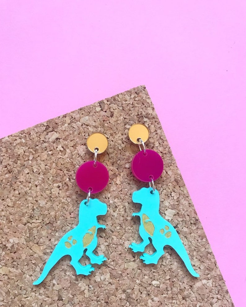 Trex Earrings  Dinosaur Earrings  Dinosaur Statement image 0