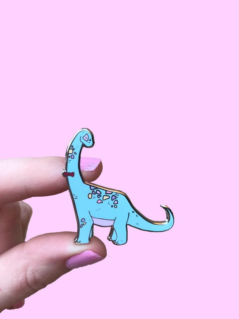 Dinosaur Pin Cute Brachiosaurus Dinosaur enamel Pin image 0