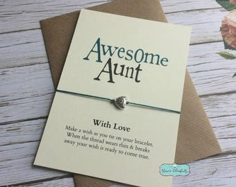AUNT Friendship Bracelet Aunt Gift Card For Auntie Birthday Sterling Silver Wish