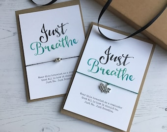 Yoga Bracelet, Just Breathe Self Empowerment Gift, Inspirational Card, Anxiety Gift, Yoga Self Care Gifts, Mindfulness Gift, Stocking Filler