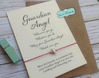 Angel Friendship Bracelet, Guardian Angel Card, Angel Bracelet, Angel Gift, Gift for Loss, Sympathy, Guardian Angel Gift, Angel Exam Guide