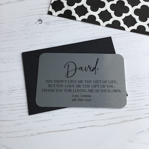 Wedding Gift Father of the Bride Personalised Aluminium Keepsake Wallet Card Papa thank Daddy Bride gift for Dad