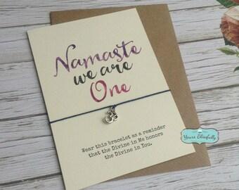 NAMASTE We Are One, Yoga Bracelet, Om Bracelet, Yoga Gift, Namaste Bracelet, Namaste Card, Yoga Card, Gold Om Bracelet,