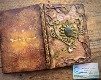 Personalized  Healing Stone Journal, Crystal Journal, Polymer Clay Journal, Personalized Sketchbook, Engraved Book, Blank Journal, Gemstone