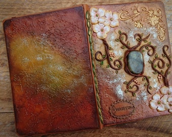 Journal with Healing Stone, Personalized Journal, Custom Blank Book, Polymer Clay Journal, Vegan Journal, Engraved Diary, Spell book, Diary