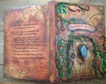 Secret Garden Personalized Journal, Custom Sketchbook, Fair Door Journal, Polymer Clay Journal, Healing Stone Journal, Crystal