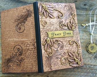 Personalized Engraved Journal, Personalized Diary, Customized Notebook, Polymer Clay Journal, Personalized Sketchbook, Engraved Blank Book