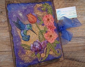 Personalized Amethyst Hummingbird Journal, Customized Notebook, Healing Stones Journal, Engraved Book