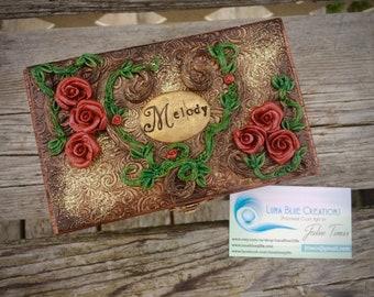 Roses Jewelry Box, Personalized Keepsake Box, Personalized Jewelry Box, Personalized Wooden Box, Polymer Clay Box, Personalized Trinket Box