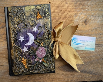 Spell Book, Personalized Journal, Custom Blank Book, Polymer Clay Journal, Healing Stones, Engraved Book, Vegan Journal, Diary, Notebook