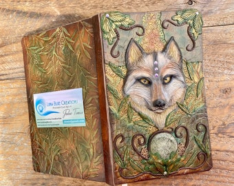 Personalized Wolf Journal, Polymer Clay Wolf Journal, Engraved Book, Personalized Notebook, Custom Diary