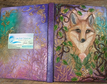 Personalized Fox Journal, Custom Fox Diary, Journal with Sunstone, Engraved Journal, Polymer Clay Journal