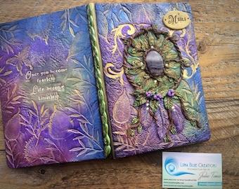 Personalized Dreamcatcher Journal, Customized Travel Journal, Polymer Clay Journal, Healing Stones