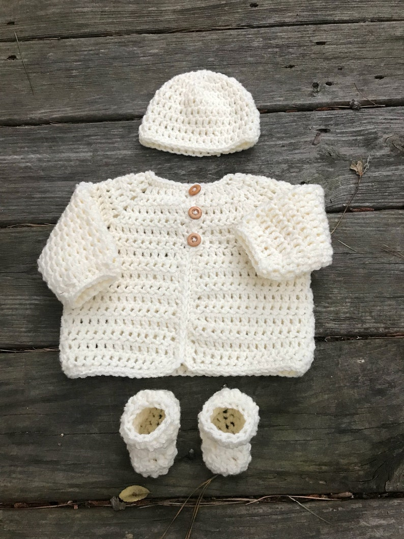 eb8ac1cf8 Newborn gift set Newborn Sweater beanie and booties Ivory