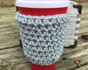 Crochet Coffee Cozy, Crochet Coffee cup Cozy, Teacher gift, Cup Sleeve -Light gray/grey cup cozy for hot and cold drinks, coffee lovers gift