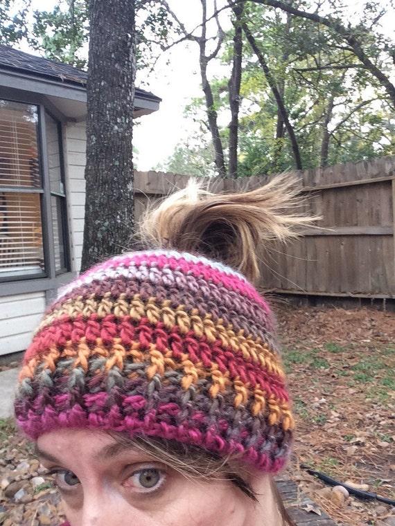 61cde094781fe Messy bun Beanie Pony tail beanie Crochet Messy Bun Beanie