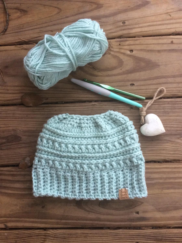 Katniss Messy bun Beanie Pony tail beanie Crochet Messy Bun  43dd0f7760f