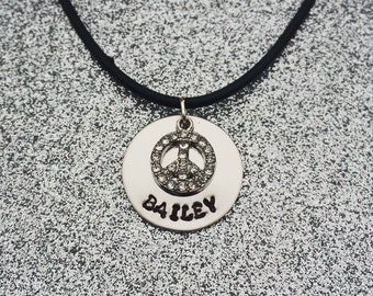 Personalized Necklace with Peace Sign Charm
