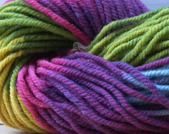 Organic Wool. Rainbow, Hand Dyed using Plant Dyes. 50g