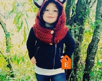 Kids Fox Hooded cowl scootie neck warmer Halloween/Winter Costume Winter Fashion