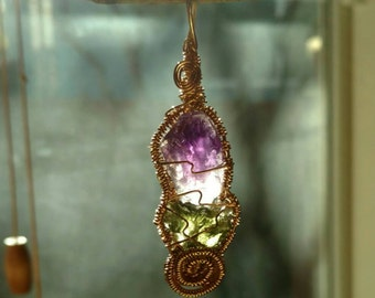 Moldavite and Amethyst Copper Wire Wrap Pendant by Jessy Bloom