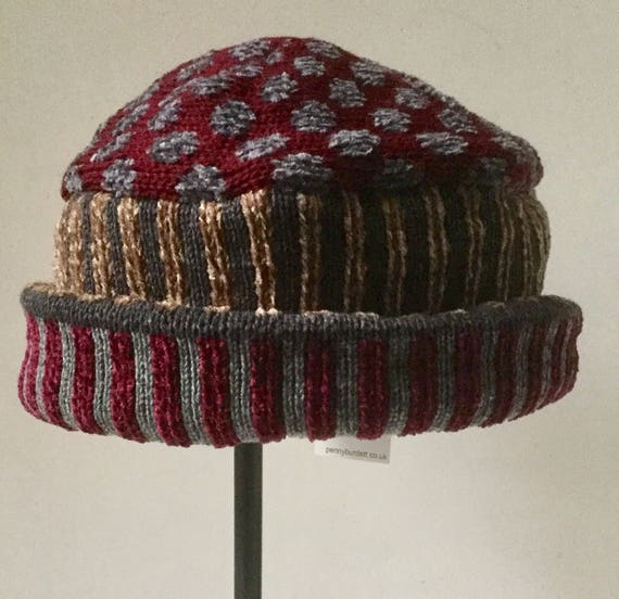 0bddc171712 Wool chenille hat in wine and grey