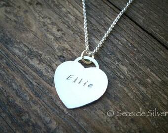 Handstamped Sterling Silver Heart Pendant