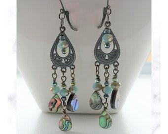 Abalone and Crystal Aqua Patina Earrings, Chandelier Dangle Earrings, Abalone Drop Earrings, Statement Earrings, Shell Earrings